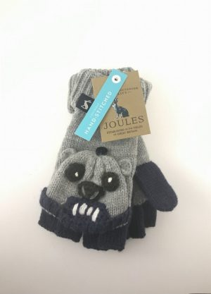 Joules Grey Bear Childrens Gloves